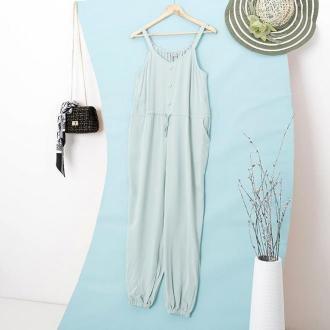 Miętowy damski bawełniany kombinezon z guzikami - Odzież