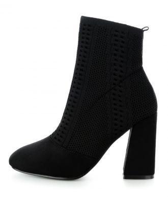Czarne elastyczne botki na obcasie NONIO