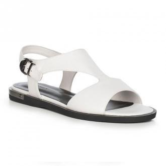 Damskie sandały skórzane na płaskiej podeszwie