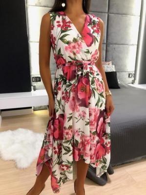 Biała Asymetryczna Sukienka w Kwiaty 6135-135
