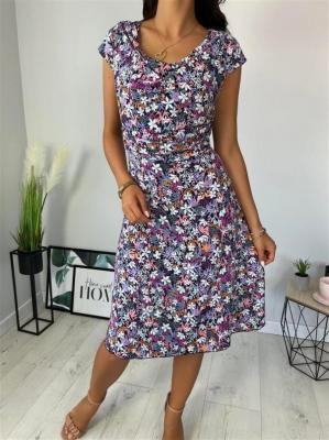 Granatowa Sukienka w Kwiatki 6363-319