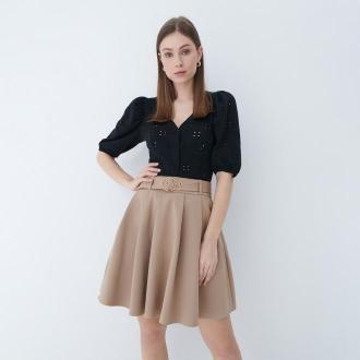 Mohito - Rozkloszowana spódnica mini - Beżowy