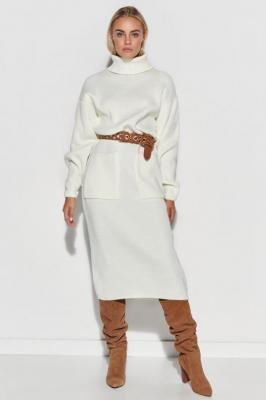 Długa Swetrowa Sukienka z Golfem - Ecru