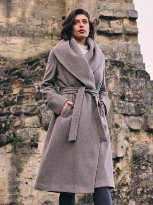 Beżowy płaszcz z szalowym kołnierzem Rino & Pelle MILON.750W20