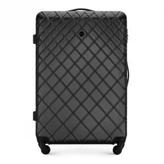 Duża walizka z ABS-u w ukośną kratkę