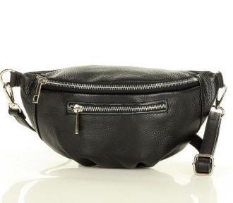 Listonoszka nerka torebka skórzana półksiężyc Italian style - Marco Mazzini czarny