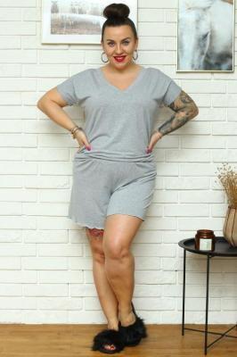 Komplet piżama bluzka + krótkie spodenki OMEGA szary