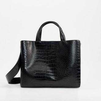 Reserved - Duża torba z motywem skóry krokodyla - Czarny