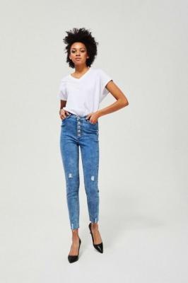 Jeansy extra high waist z przetarciami