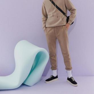 Reserved - Spodnie dresowe z bawełną - Beżowy