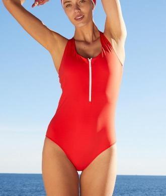 Agnes Jednoczęściowy Kostium Kąpielowy Sportowy Z Ramiączkami Skrzyżowanymi Na Plecach - L - Czerwony - Etam