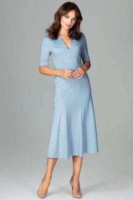 Niebieska Koktajlowa Sukienka Midi z Wycięciem V przy Dekolcie
