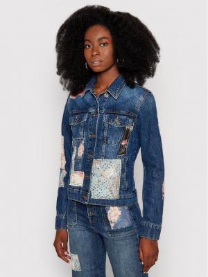 Desigual Kurtka jeansowa Japo Patch 21WWED12 Granatowy Slim Fit