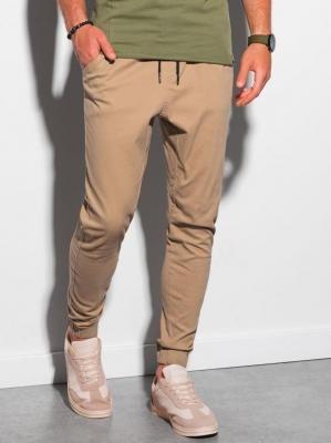 Spodnie męskie joggery P885 - camel - S