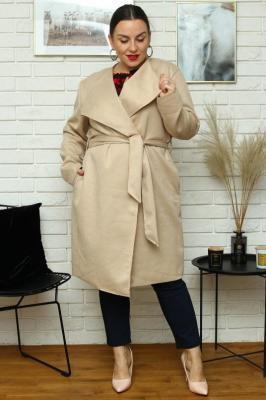 Płaszcz wiosenny kopertowy zamszowy z paskiem SIMONA beżowy