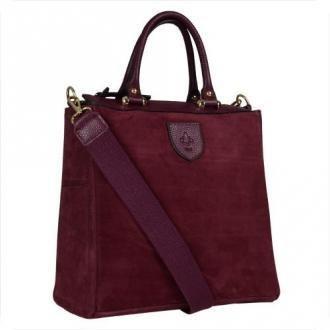 Elegancka skórzana torebka kuferek bordowa zamsz