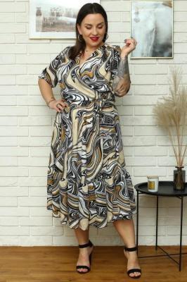 Sukienka wiosenna zwiewna szyfonowa GERARDA print beżowo-czarno-biały PROMOCJA