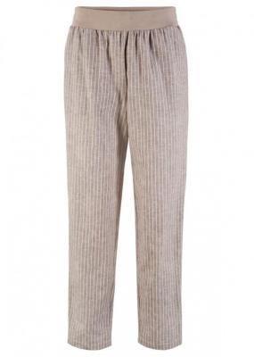 Spodnie lniane z kolekcji Maite Kelly bonprix brunatno-biel wełny w paski