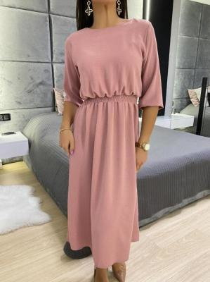 Pudrowa Sukienka Midi 5865-104-E