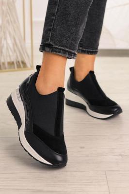 Czarne buty sportowe sneakersy polska skóra Pro-moda 2574/001/L