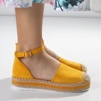 Żółte damskie sandały a'la espadryle na platformie Palira- Obuwie