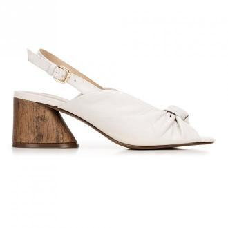 Sandały skórzane na słupku z imitacji drewna