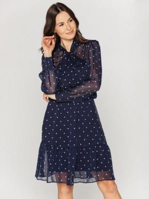 Granatowa sukienka w groszki z falbaną Bialcon