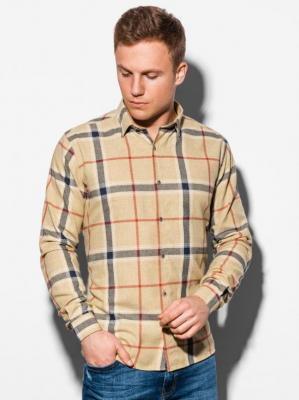 Koszula męska w kratę z długim rękawem K564 - żółta  - XXL
