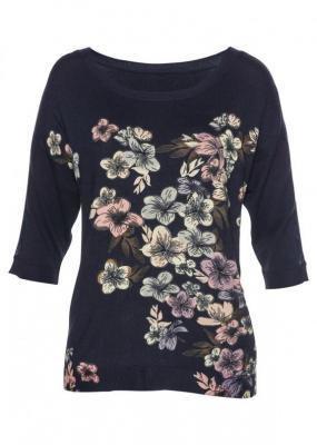Sweter LENZING™ ECOVERO™ z koronką bonprix ciemnoniebieski w kwiaty