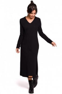 Dresowa sukienka maxi z dekoltem V oraz kapturem