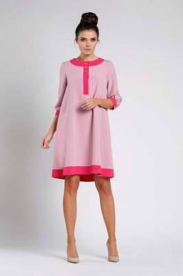 Jasno Różowa Luźna Wizytowa Sukienka na Guziki z Lamówkami