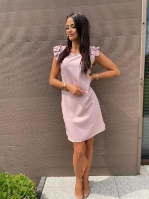 Ciemnopudrowa Sukienka z Ozdobnym Rękawkiem 6103-76-B