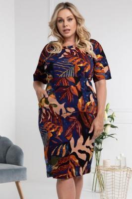 Sukienka letnia bawełniana ołówkowa wygodna z kieszonkami MADEO granatowo-pomarańczowy print