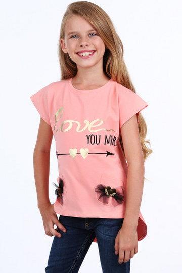 Bluzka dziewczęca z serduszkami łososiowa NDZ8311