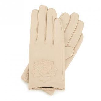 Damskie rękawiczki skórzane z wytłoczoną różą