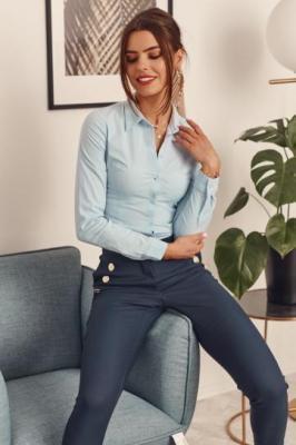 Eleganckie spodnie damskie cygaretki granatowe 27864
