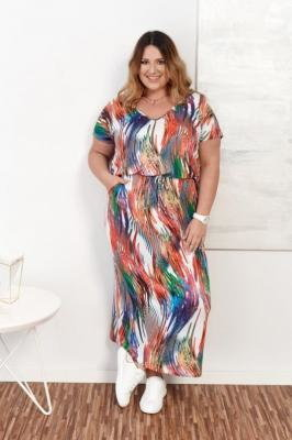 Multikolorowa Sukienka MISTENA PlusSizeWzór3
