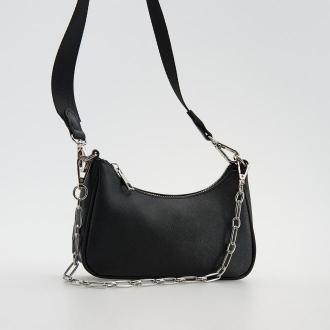 Reserved - Skórzana torebka z łańcuchem - Czarny