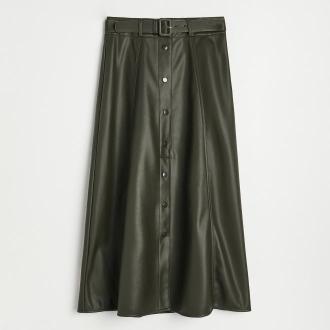 Reserved - Spódnica z imitacji skóry - Khaki