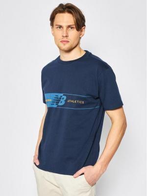 New Balance T-Shirt Keylinet MT01510 Granatowy Relaxed Fit