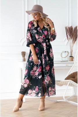 Ciemnozielona sukienka maxi w kwiaty z kopertowym dekoltem - adela 48/50