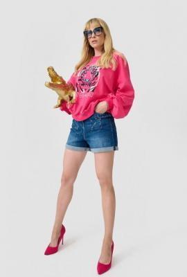 Jeansowe ciemne szorty damskie chlapane farbą