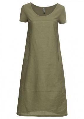 Sukienka lniana bonprix oliwkowy