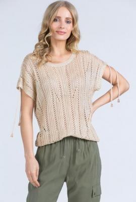 Ażurowy sweter z krótkimi rękawami
