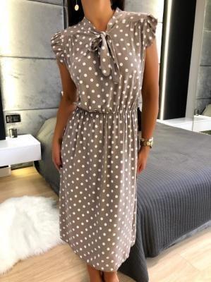 Beżowa Sukienka w Grochy 6070-30-A
