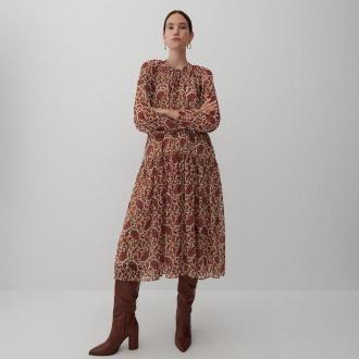 Reserved - Wzorzysta sukienka - Bordowy