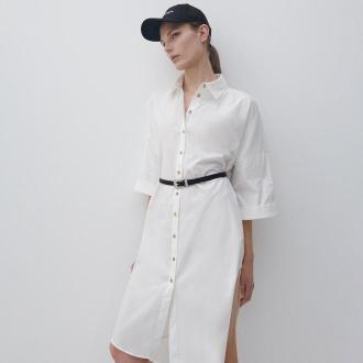 Reserved - Koszulowa sukienka - Kremowy