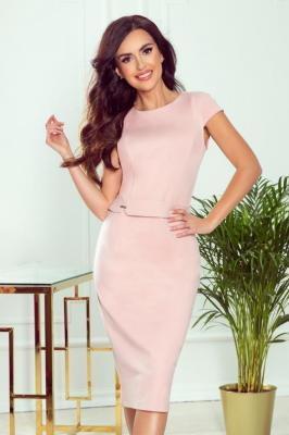 Elegancka Ołówkowa Sukienka z Paskiem - Pudrowa