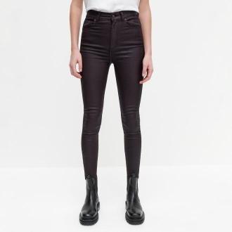 Reserved - Woskowane spodnie z wysokim stanem - Brązowy