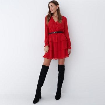 Mohito - Sukienka z falbanami i paskiem Eco Aware - Czerwony